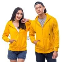 jaket zipper polos kuning / sweater hoodie kuning polos
