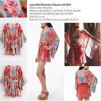 Red Bohemian Playsuit with Belt (size S,M,L) -25329
