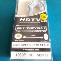 Kabel HDMI to HDMI 1.5 m Versi Flat 1.4 3D 1080p Berkualitas