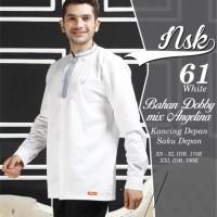 Baju Atasan Muslim Pria Koko Lengan Panjang Nibras NSK 61 Putih