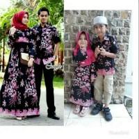 baju batik couple sarimbit gamis sogan set family ayah ibu + 2 anak