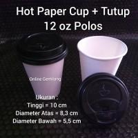 Hot Paper Cup / Gelas Kertas 12 oz Polos Plus Tutup