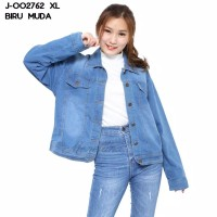 Baju jaket denim strech XL jumbo lengan panjang murah wanita J-002762