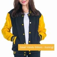 Jaket Varsity Kancing hitam kuning dan warna lainnya