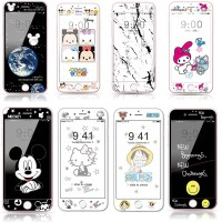 Coverage Front Cartoon Tempered Glass iPhone 8 7 6 6s Plus Soft Edge