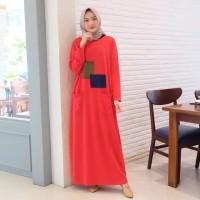 Red gamis muslim polos simple