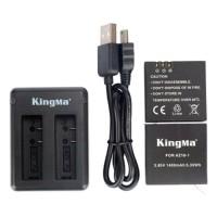 Paket Dual Charger Kingma   2 Battery / Baterai for Xiaomi Yi 2 4K