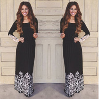 Women Summer Lace Long Sleeve Party Evening Cocktail Maxi Long Dress