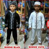 Pakaian Muslim Anak BORDIR PUTIH Baju Koko Gamis Anak Berkelas MARUNO