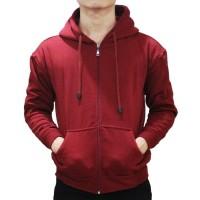 Murah !!! Jaket Sweater Polos Hoodie Zipper/Resleting Merah Maroon