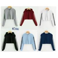 Celline - Sweater crop Hodie motif CATUR bahan babyterry fit to L