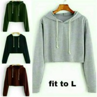 Sweater glow crop basic POLOS HODIE TALI SERUT babitery fit TO SIZE L