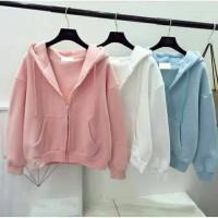 bomber hoodie basic/sintia 7 Warna fit L