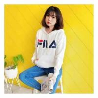 Sweater hodie FILA|jaket FILA pakaian kekinian bahan babyterry fit L