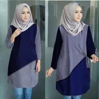 Baju Atasan Wanita Aera Tunik Blouse Baju Muslim - Navy