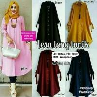 (Harga Promo Sis) Atasan Blouse Wanita Baju Muslim Lesa Long Tunik