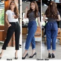 Celana Jeans Wanita / Boyfriend Black & Electric Blue / Pinggang Karet