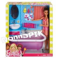 Barbie - Doll & Furniture Play Set BATHROOM original Mattel