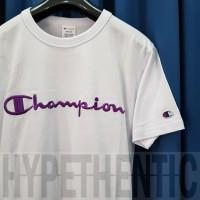 Champion Embroidered Script White Tshirt Original / T Shirt Kaos Putih - S