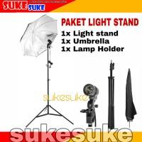 Paket Lampu Studio Standar ( Light Stand - Lamp Holder - Payung )