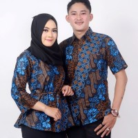 Batik Couple Atasan Wanita Blus dan Pria Lengan Pendek Parang Biru