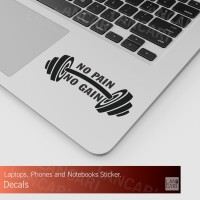 Decal Sticker No Pain No Gain Gym Cutting Macbook Laptop Stiker