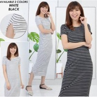 Paling Murah Dress Wanita Anisa - Baju Kaos Salur - Pakaian Wanita -