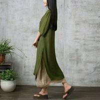 Paling Laku Dress Maxi Panjang Boho Vintage ,Hem Asimetris Import -