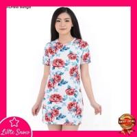 Paling Murah Mini Dress Bunga 205 - Baju Mini Dress Wanita 205 - Putih
