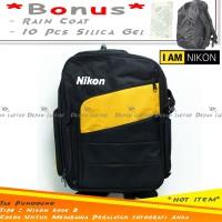 Tas Punggung Kamera Nikon Hitam DSLR Mirrorless Flash Lensa Laptop B
