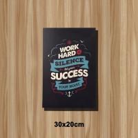 Poster Vintage Quotes Bingkai Kayu Work Hard In Silence 2030