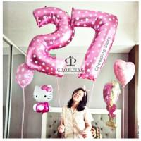 Balon Foil Huruf Angka PINK - JUMBO 100cm / 1 METER Bigsize