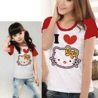 Baju Couple Mom Kids Kaos Pasangan Ibu Anak Fashion Murah Kitty 9038