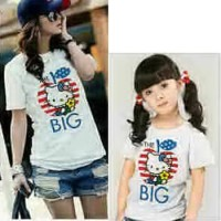 Baju Couple Mom Kids Kaos Pasangan Ibu Anak Fashion Murah Kitty 8923