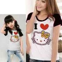 Baju Couple Mom Kids Kaos Pasangan Ibu Anak Fashion Murah Kitty 9037