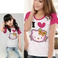 Baju Couple Mom Kids Kaos Pasangan Ibu Anak Fashion Murah Kitty 9036