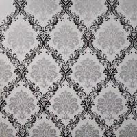 Damask black & silver 45 cm x 10 mtr ~ Wallpaper sticker dinding