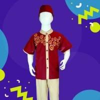 Baju muslim setelan anak laki-laki katun bordir 10-12 tahun