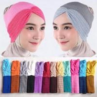Dalaman Jilbab Inner Ciput Bandana Rajut Risty Kerut Dua Warna Murah
