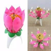 Lilin Magic Bunga Teratai Dengan Musik Happy Birthday