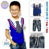 GW288-A - Baju / Kaos Setelan Jeans Anak Print Rompi Vest Dasi 95-140