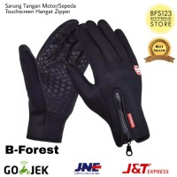 Sarung Tangan Motor/Sepeda Touch Screen Waterproof Windproof - Hitam, L