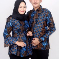 Batik Couple - Atasan Wanita Blus dan Kemeja Pria Parang Biru