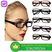 Kacamata (DesignKorea) Pria Wanita Kotak Full Frame Radiasi Transparan