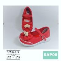SAP09 Sepatu Pesta Anak Perempuan Pita Crown usia 9bulan 1 2 tahun