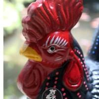 HOT SALE Celengan Gerabah Ayam HiitamBintik Tanah Liat Bakar 23x18cm
