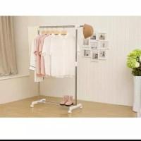 HOT SALE Gantungan Baju Stand Elegan Serbaguna dengan roda - Putih