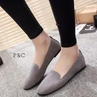 sepatu Flat Shoes wanita sw022 Hitam Abu Pink Polos Suede Kuliah Kerja