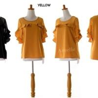 Wah dress Baju Atasan Blouse Wanita Korea Import AB835518 Black Yellow