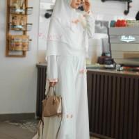 AMIILY HANIFA 1 SET WHITE GAMIS DRESS KHIMAR JILBAB BUSANA MUSLIM